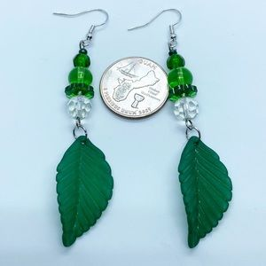 Glass beads with beautiful leaf